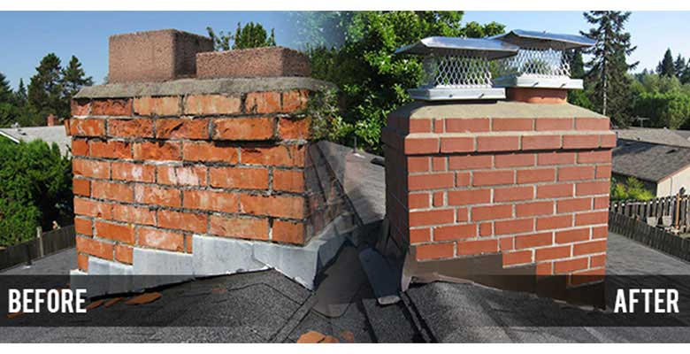 Before and after masonry restoration, crown replacement and cap installatiom!
